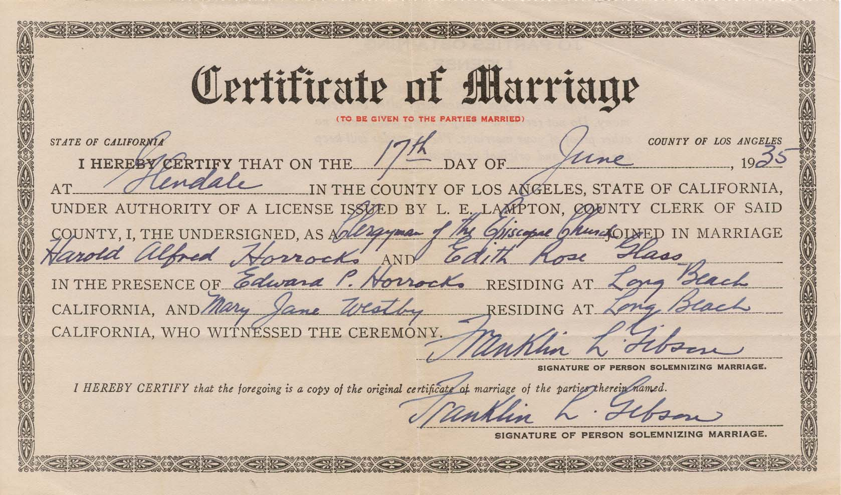 1935 Marriage Certificate Harold Horrocks Pat Glass Our Family